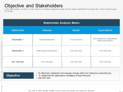 Rethink Approach Asset Lifecycle Management Objective And Stakeholders Clipart PDF