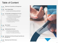 Rethink Approach Asset Lifecycle Management Table Of Content Template PDF