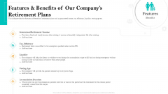 Retirement Income Analysis Features And Benefits Of Our Companys Retirement Plans Graphics PDF