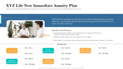 Retirement Income Analysis XYZ Life New Immediate Annuity Plan Ppt Inspiration Aids PDF