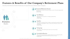 Retirement Insurance Benefit Plan Features And Benefits Of Our Companys Retirement Plans Infographics PDF