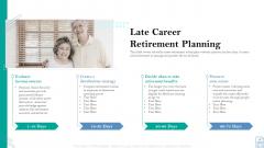 Retirement Insurance Benefit Plan Late Career Retirement Planning Ppt Show Styles PDF