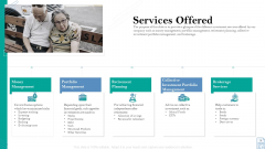 Retirement Insurance Benefit Plan Services Offered Ppt Influencers PDF