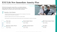 Retirement Insurance Benefit Plan XYZ Life New Immediate Annuity Plan Ppt Ideas Grid PDF