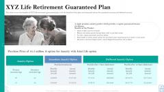 Retirement Insurance Benefit Plan XYZ Life Retirement Guaranteed Plan Ppt File Pictures PDF