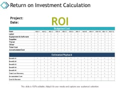 Return On Investment Calculation Ppt PowerPoint Presentation Show Gallery
