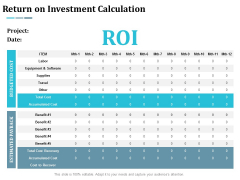 Return On Investment Calculation Ppt Powerpoint Presentation Slides Slideshow