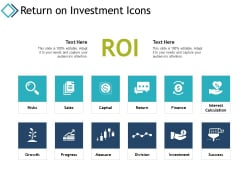 Return On Investment Icons Ppt PowerPoint Presentation Gallery Layout