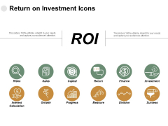 Return On Investment Icons Risks Ppt PowerPoint Presentation Outline Outfit
