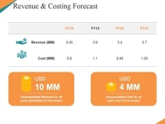 Revenue And Costing Forecast Ppt PowerPoint Presentation Outline Example