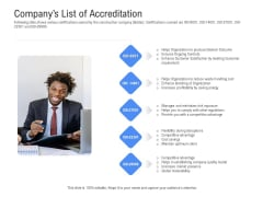 Revenue Cycle Management Deal Companys List Of Accreditation Ppt Show Graphic Tips PDF