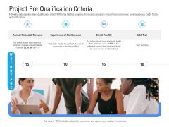 Revenue Cycle Management Deal Project Pre Qualification Criteria Ppt Outline Templates PDF