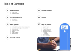 Revenue Cycle Management Deal Table Of Contents Ppt Professional Guidelines PDF