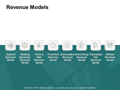 Revenue Models Ppt PowerPoint Presentation Icon Vector