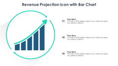 Revenue Projection Icon With Bar Chart Ppt Ideas Designs PDF