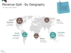 Revenue Split By Geography Ppt PowerPoint Presentation Summary Model