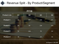Revenue Split By Product Segment Template Ppt PowerPoint Presentation Pictures Professional