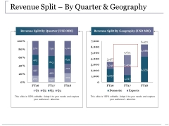 Revenue Split By Quarter And Geography Ppt PowerPoint Presentation Gallery Deck