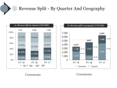 Revenue Split By Quarter And Geography Ppt PowerPoint Presentation Icon Layout