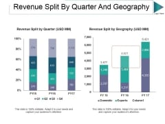 Revenue Split By Quarter And Geography Ppt PowerPoint Presentation Layouts Master Slide