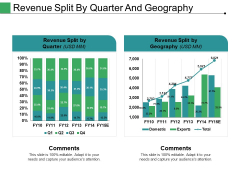 Revenue Split By Quarter And Geography Ppt PowerPoint Presentation Professional Rules