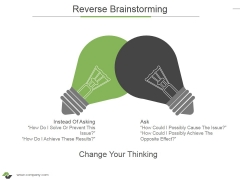 Reverse Brainstorming Ppt PowerPoint Presentation Ideas Graphics Pictures