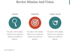 Review Mission And Vision Ppt PowerPoint Presentation Ideas