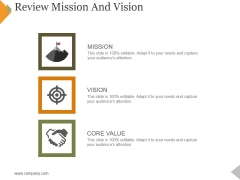 Review Mission And Vision Ppt PowerPoint Presentation Infographic Template Gallery