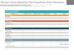 Revised Online Marketing Plan Powerpoint Slide Information