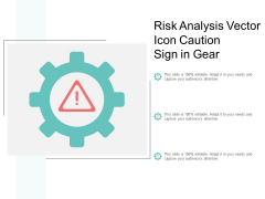 Risk Analysis Vector Icon Caution Sign In Gear Ppt PowerPoint Presentation Slides Graphics