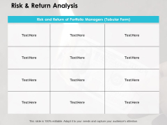 Risk And Return Analysis Ppt PowerPoint Presentation Ideas Grid