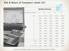 Risk And Return Of Companys Assets Yoy Calculator Ppt PowerPoint Presentation Layouts Professional