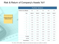 Risk And Return Of Companys Assets Yoy Ppt PowerPoint Presentation Ideas Icon