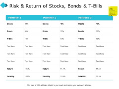 Risk And Return Of Stocks Bonds And T Bills Ppt PowerPoint Presentation Icon Structure