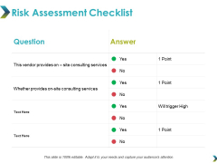 Risk Assessment Checklist Ppt PowerPoint Presentation Infographic Template Example