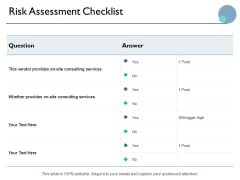 Risk Assessment Checklist Ppt PowerPoint Presentation Infographics Diagrams