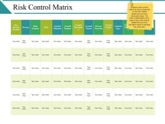 Risk Control Matrix Ppt PowerPoint Presentation Slides Introduction