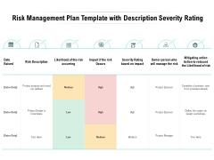 Risk Management Plan Template With Description Severity Rating Ppt PowerPoint Presentation Portfolio Example Topics
