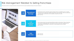 Risk Management Related To Selling Franchisee Ppt Pictures File Formats PDF