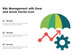 Risk Management With Gear And Arrow Vector Icon Ppt PowerPoint Presentation Icon Pictures PDF