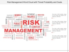 Risk Management Word Cloud With Threat Probability And Goals Ppt Powerpoint Presentation Show Designs Download