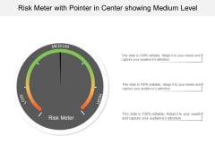 Risk Meter With Pointer In Center Showing Medium Level Ppt PowerPoint Presentation Portfolio Templates