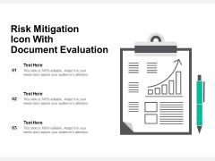 Risk Mitigation Icon With Document Evaluation Ppt PowerPoint Presentation Inspiration Summary PDF