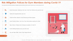 Risk Mitigation Polices For Gym Members During Covid 19 Demonstration PDF