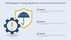 Risk Mitigation Strategy Model Icon With Security Shield Symbol Ppt PowerPoint Presentation Icon Inspiration PDF