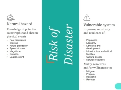 Risk Of Disaster Ppt PowerPoint Presentation Show