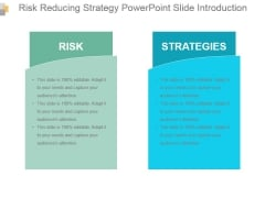 Risk Reducing Strategy Powerpoint Slide Introduction