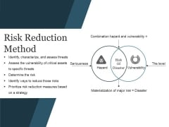 Risk Reduction Method Ppt PowerPoint Presentation Visual Aids