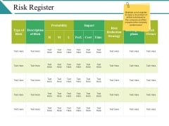 Risk Register Ppt PowerPoint Presentation Layouts Samples