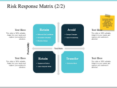 Risk Response Matrix Ppt PowerPoint Presentation Gallery Templates
